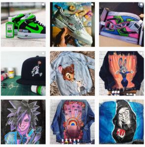 Customizerzy, którzy malują buty, katany jeansowe, bluzy i koszulki