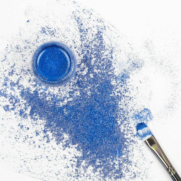 Niebieska farba akrylowa brokatowa diy, rękodzieło, custom, personalizacja, eventy