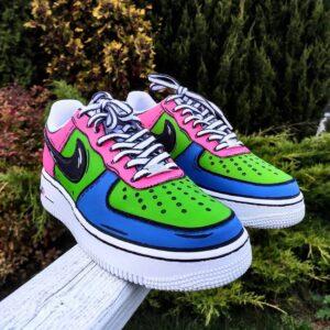 Buty malowane farbami tarrago, cartoon candy nike af1