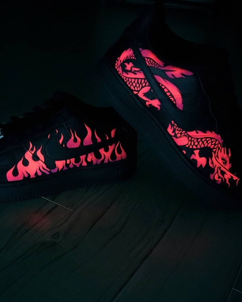 farby akrylowe neon fluor świecące w ciemności custom nike
