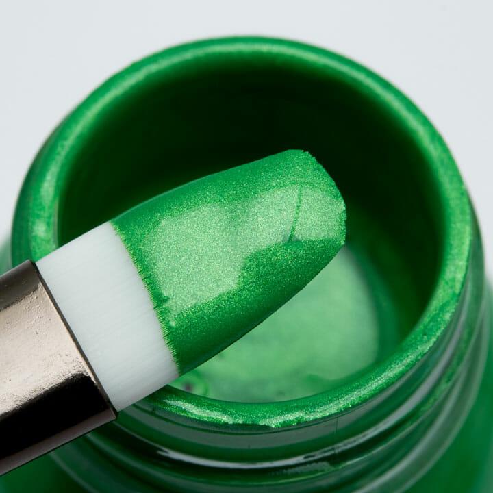 Zielona perłowa farba akrylowa opalizująca do sneakersów, odzieży, skór