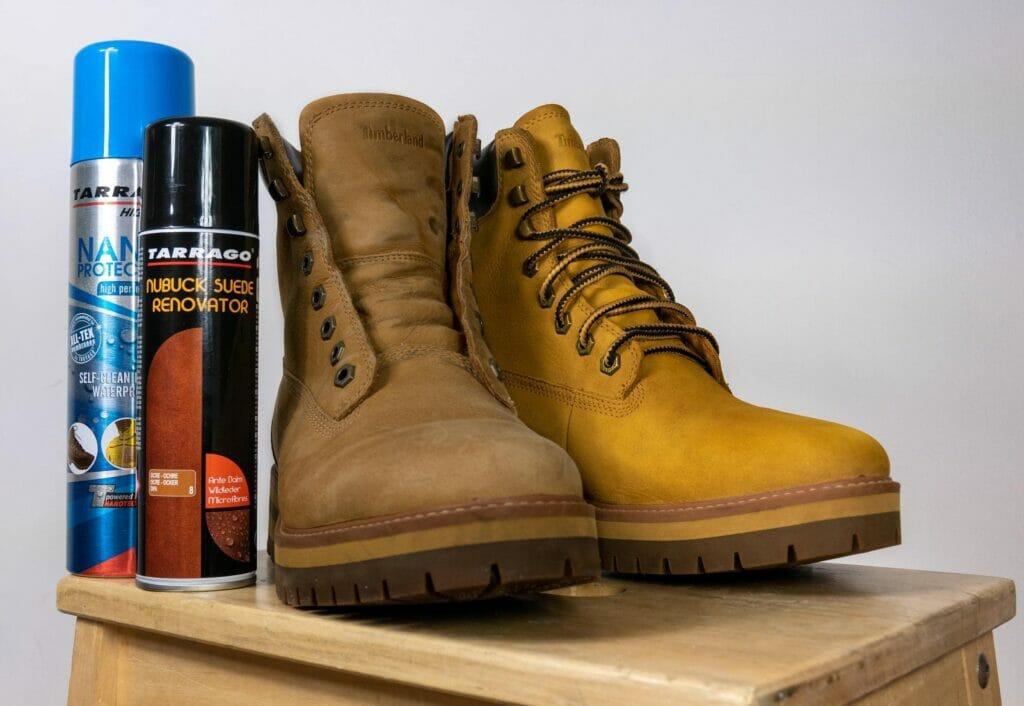 Odnowienie koloru zamszowych i nubukowych butów, traperów Timberland.