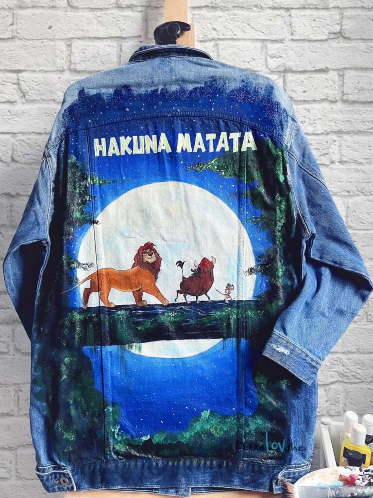akrylowe farby do jeansu - custom hakuna matata