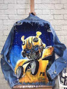 robo custom jeans, malowanie kurtki, katany