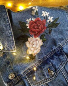custom flowers jeans rękodzieło, malowanie