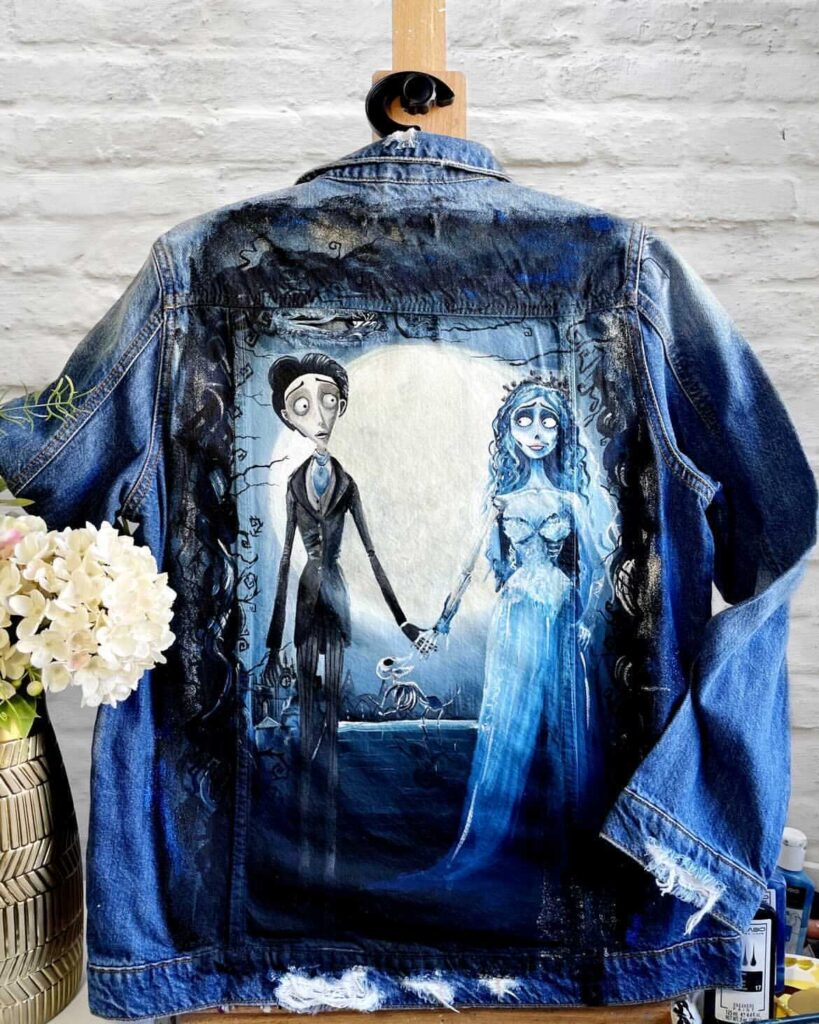 Prezent ślubny - malowana katana jeansowa, farby do denimu