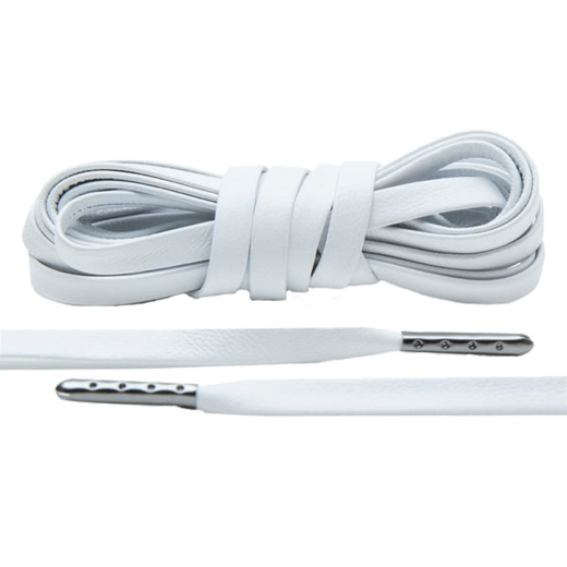 LACE LAB Luxury Leather Laces 6mm White - Gunmetal Plated